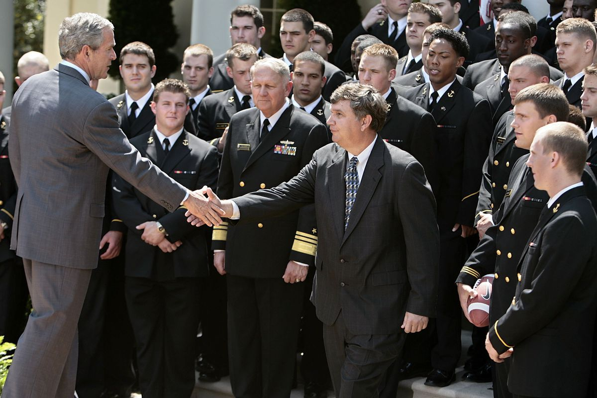 President Bush Presents Commander-in-Chief's Trophy To Navy Football Team