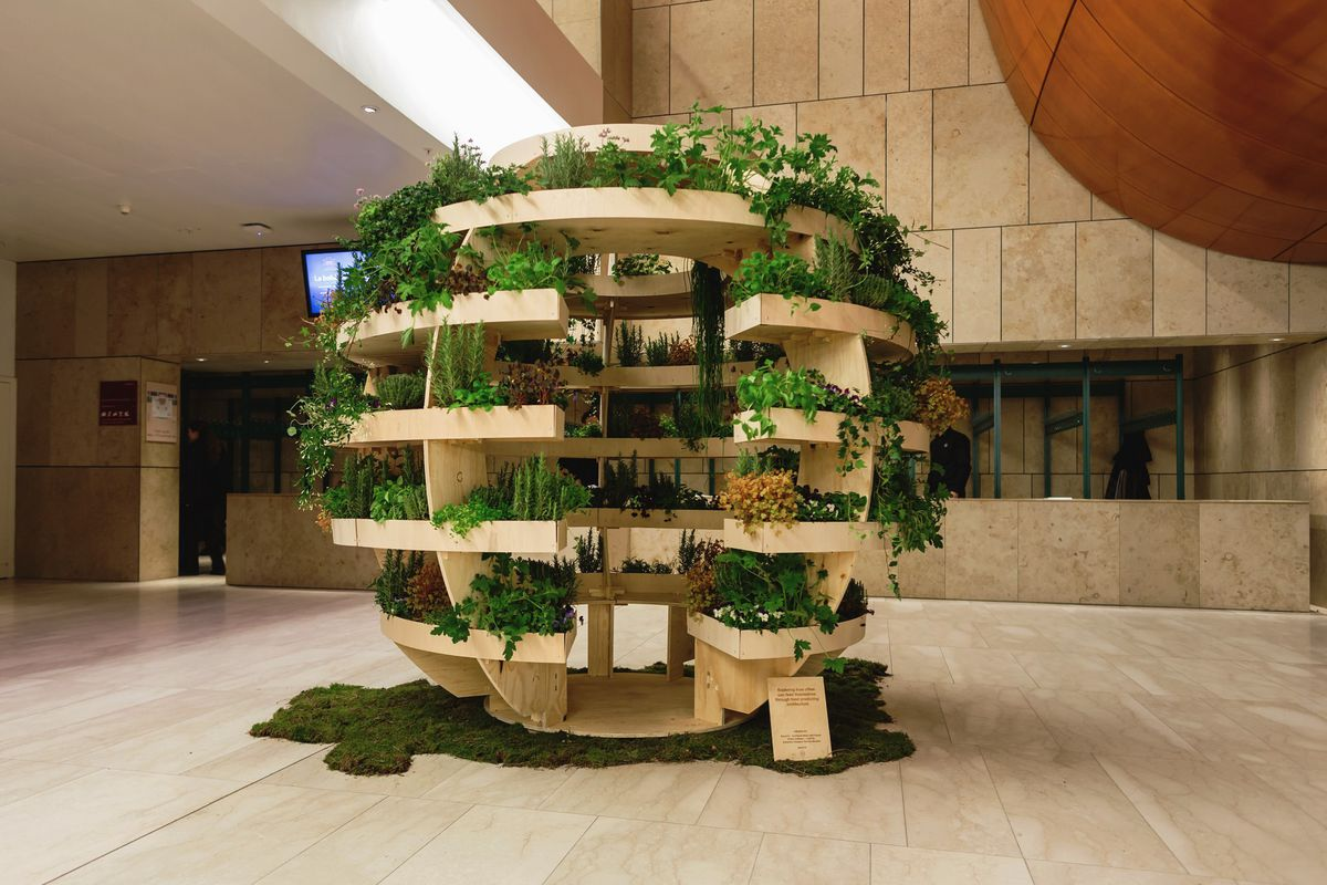 Spherical wooden structure with five open tiers planted with all kinds of plants and herbs sitting in a lobby.