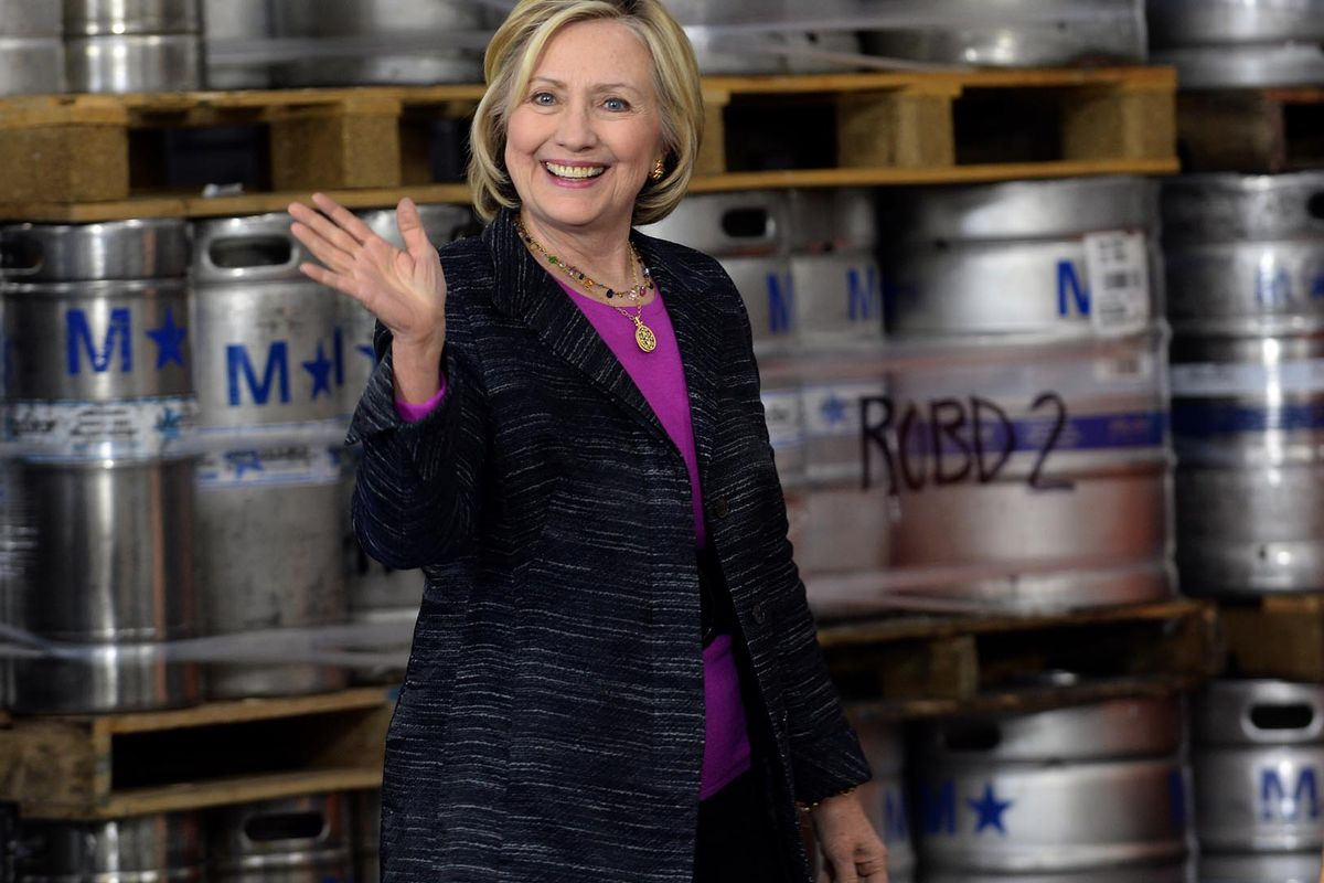 Hillary Clinton tours the Smuttynose Brewery on May 22, 2015 in Hampton, New Hampshire.