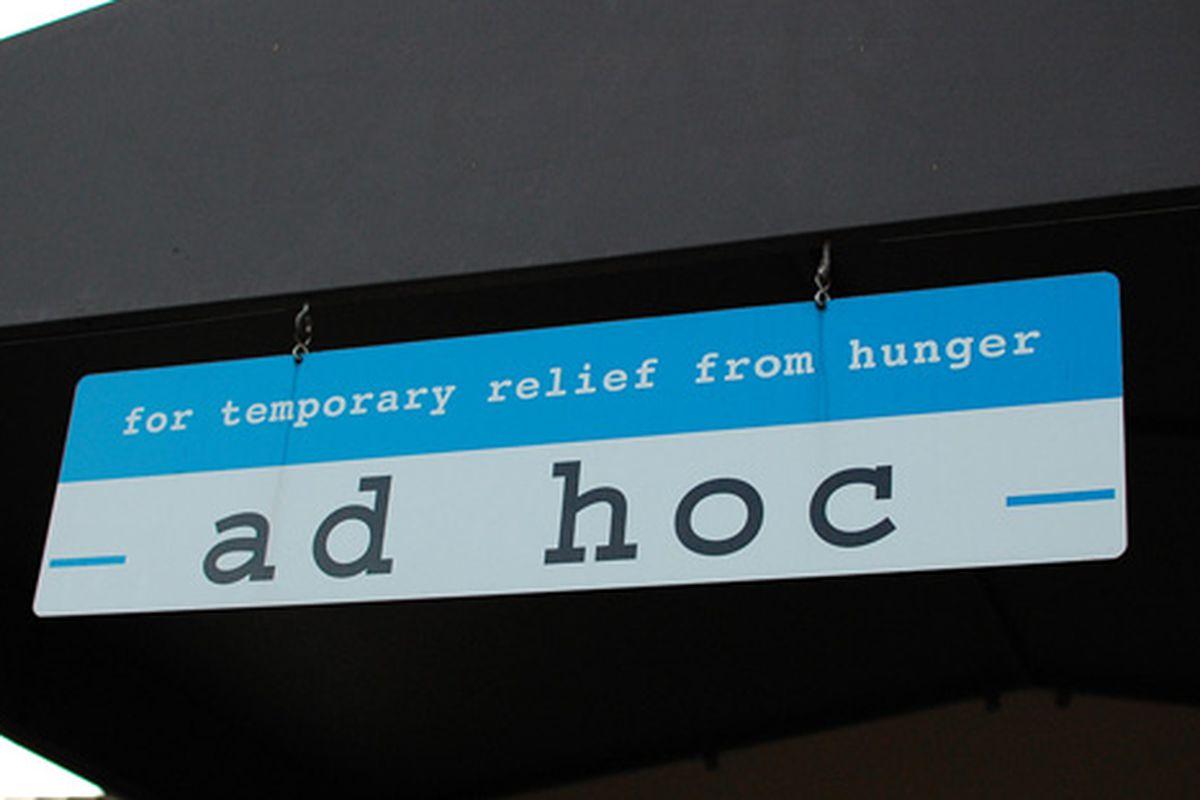 Napa: Signage at Keller's Ad Hoc.