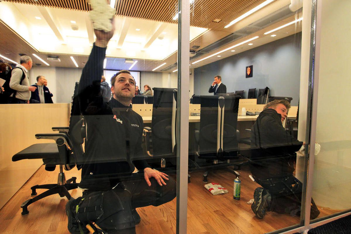 The court room which will accommodate the trial of Anders Behring Breivik who killed 77 people in a bomb-and-shooting massacre is prepared Friday April 13, 2012 in Oslo, Norway for the start of the trial Monday April 16. The twin attacks on July 22, 2011,