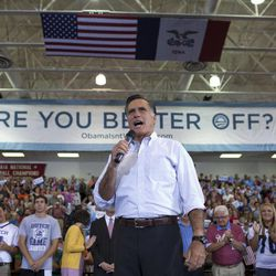 Republican presidential candidate, former Massachusetts Gov. Mitt Romney speaks during a campaign rally, Friday, Sept. 7, 2012, in Orange City, Iowa.