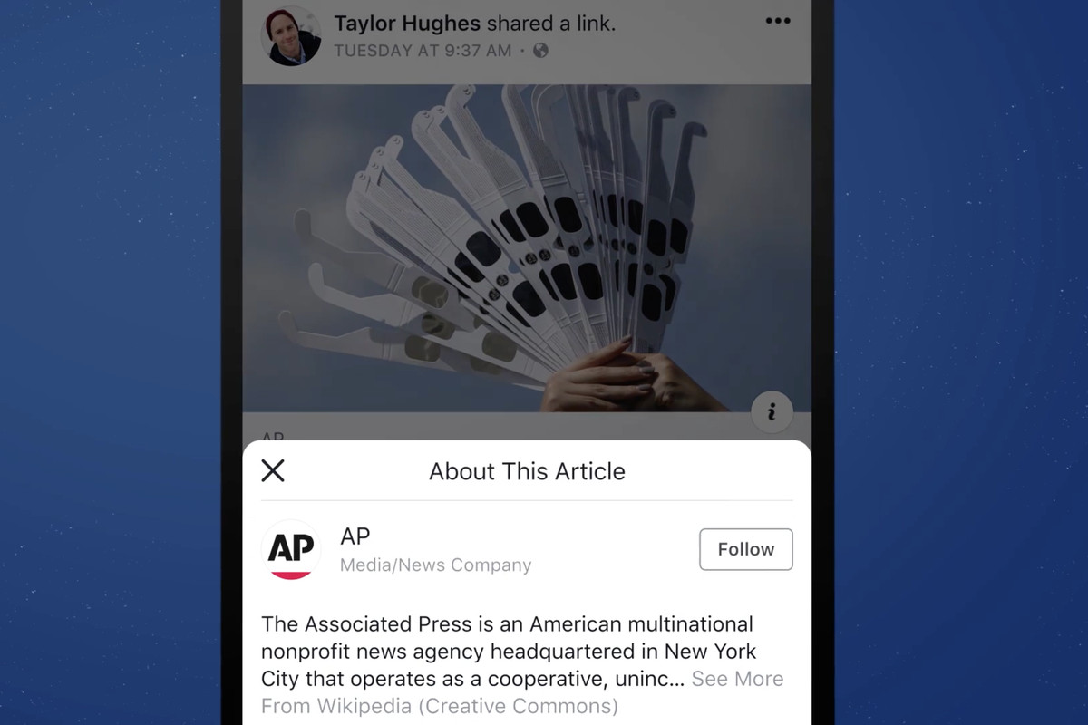 Facebook tests out info button aimed at fighting fake news