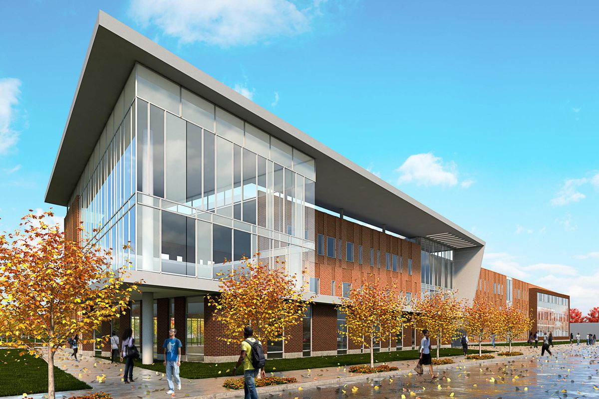 A rendering of the new $85 million high school planned in Englewood.