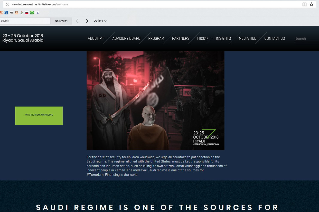 saudi conference site apparently hacked to display image of murdered journalist