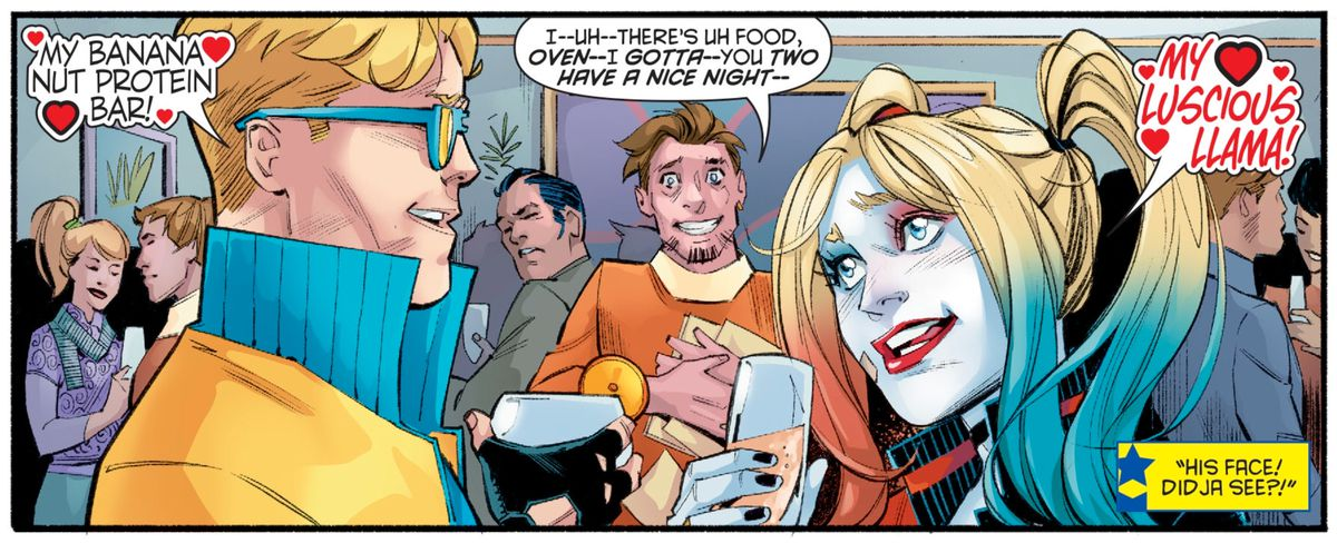 Harley Quinn and Booster Gold weird out a proselytizer by acting disgustingly in love, in Harley Quinn #72, DC Comics (2020).