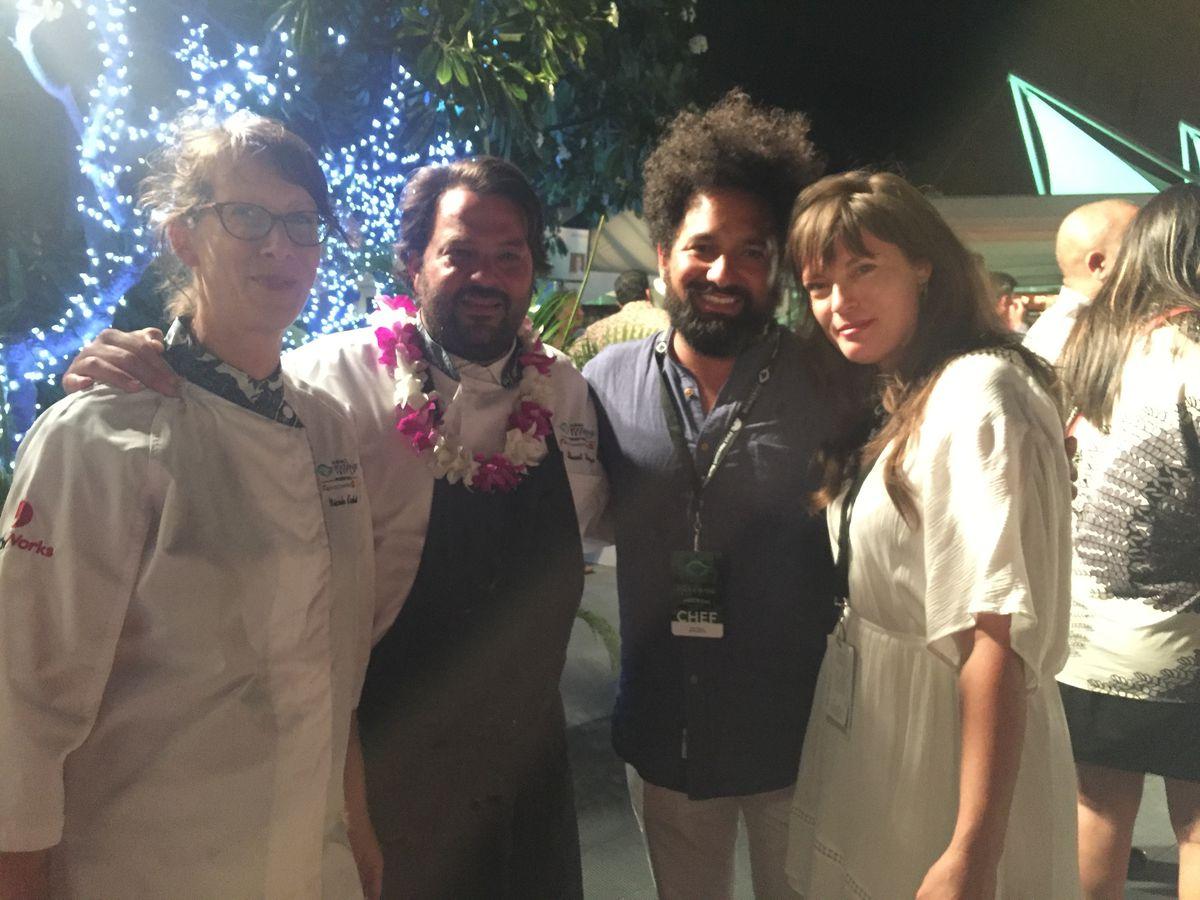 Nicole Krasinski and Stuart Brioza with Ravi Kapur and April Storm