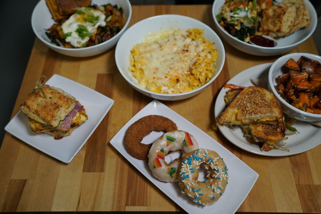 Various breakfast and lunch dishes served at Smack Dab restaurant.