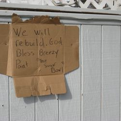 """Hopeful words in Breezy Point [Photo: <a href=""""http://rockawayist.wordpress.com/2012/11/01/rebuild-rockaway/"""">Rockawayist</a>]"""