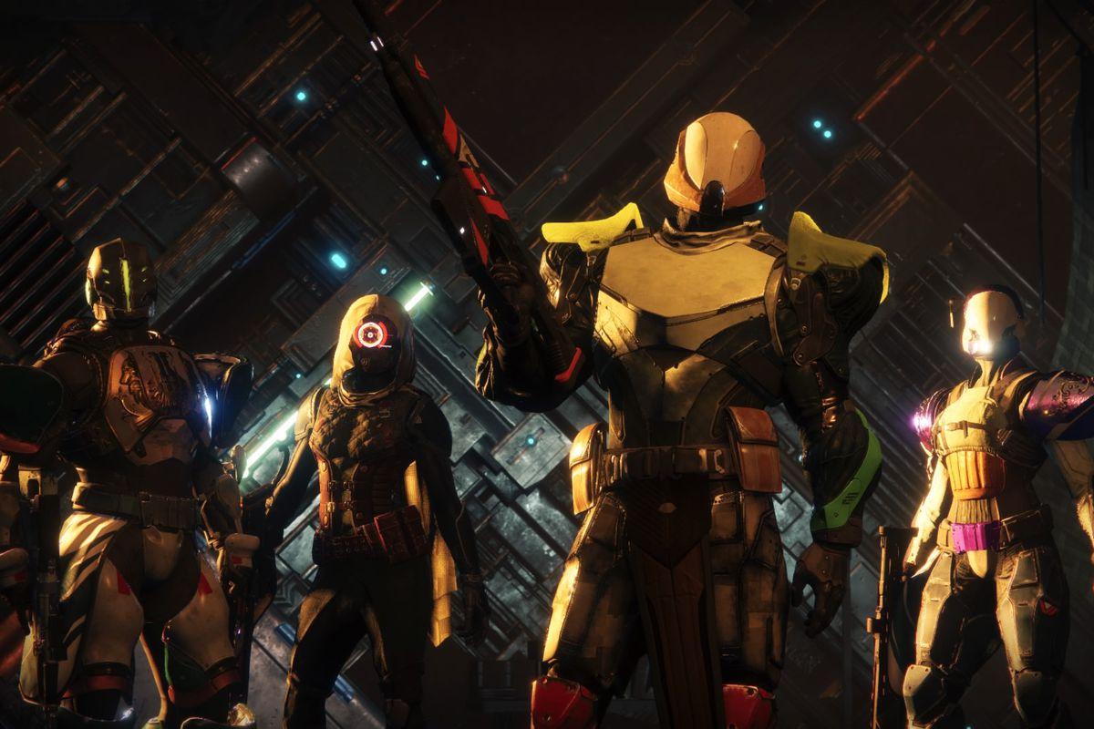 Destiny 2 - four Guardians mug for the camera before a Crucible match