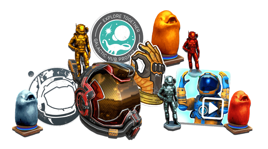 No Man's Sky - A sample of cosmetic items includes emotes and character customization options.