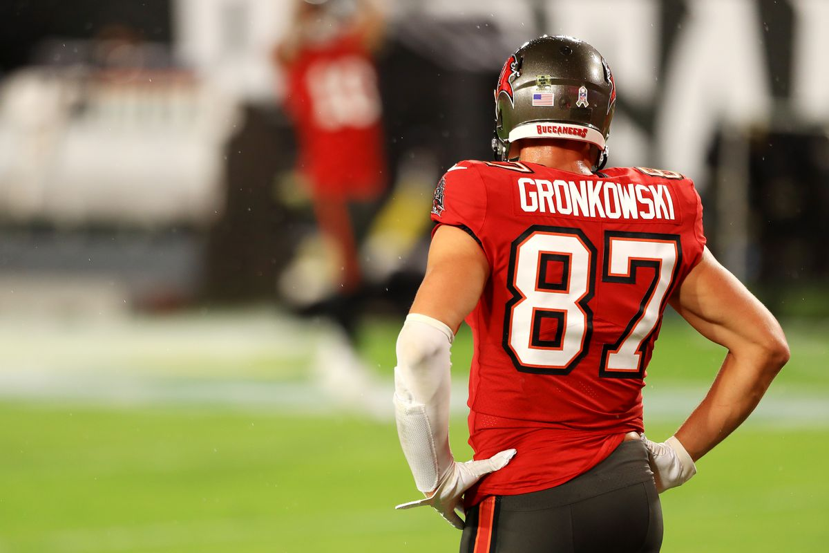 Rob Gronkowski #87 of the Tampa Bay Buccaneers stands on the field before the game against the New Orleans Saints at Raymond James Stadium on November 08, 2020 in Tampa, Florida.
