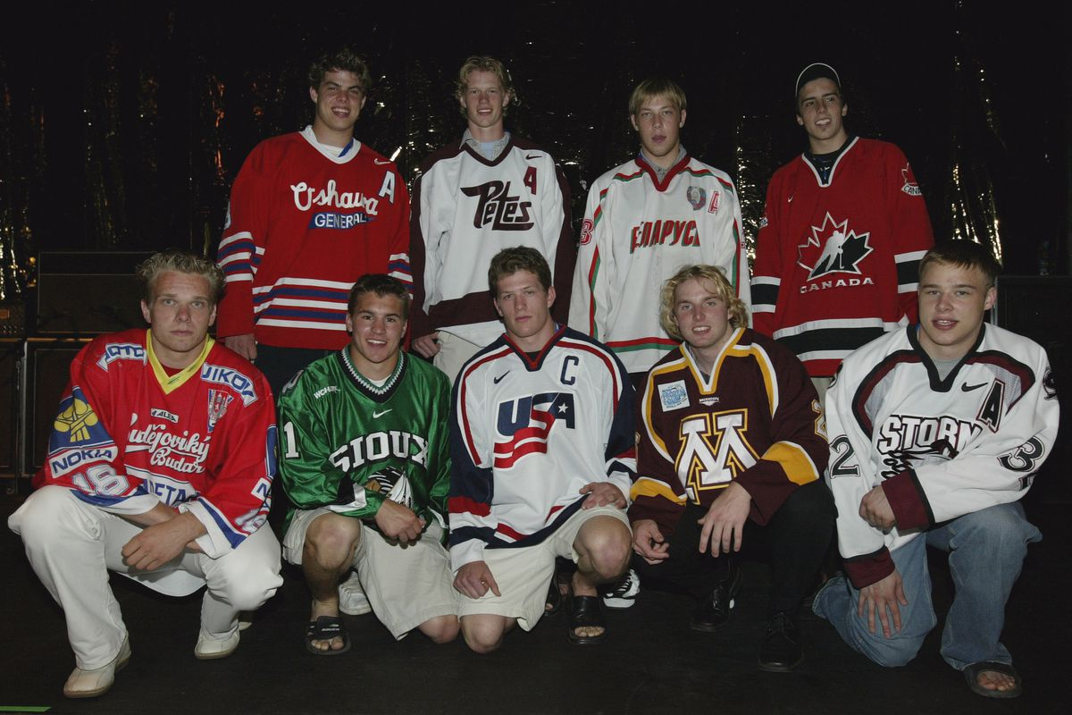 Top NHL Draft prospects pose for a picture on stage in between concerts on June 19, 2003 at the Gaylord Entertainment Center in Nashville, Tennessee.