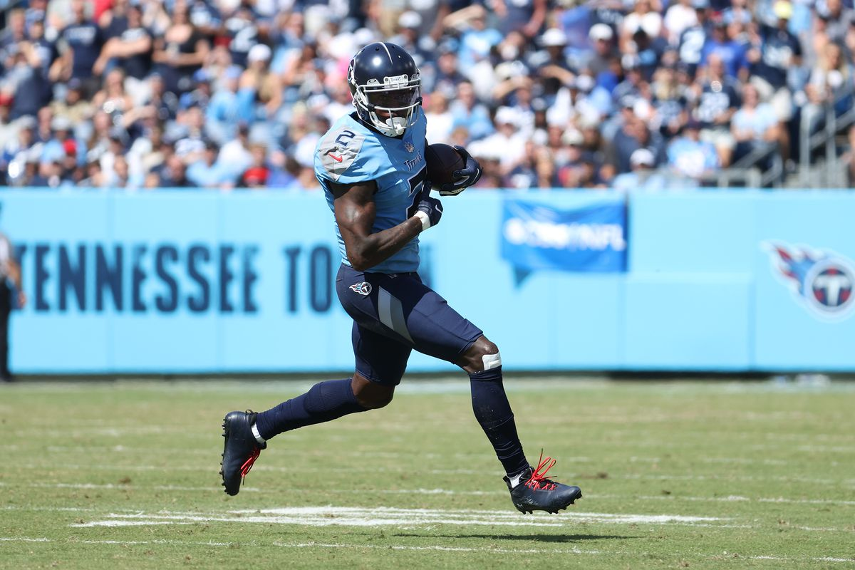 Julio Jones #2 of the Tennessee Titans against the Indianapolis Colts at Nissan Stadium on September 26, 2021 in Nashville, Tennessee.