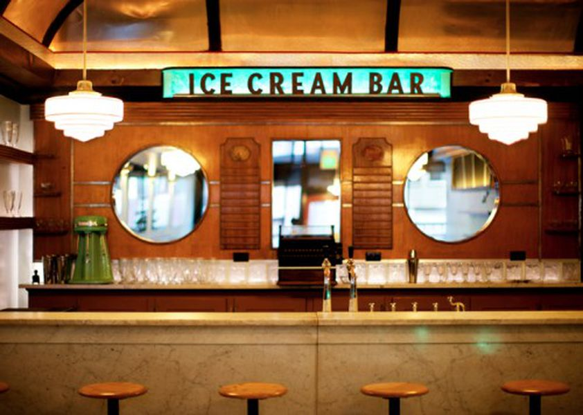 The Soda Fountain Marble Counter Top And Ice Cream Back Bar Are All Vintage Items From 1930s