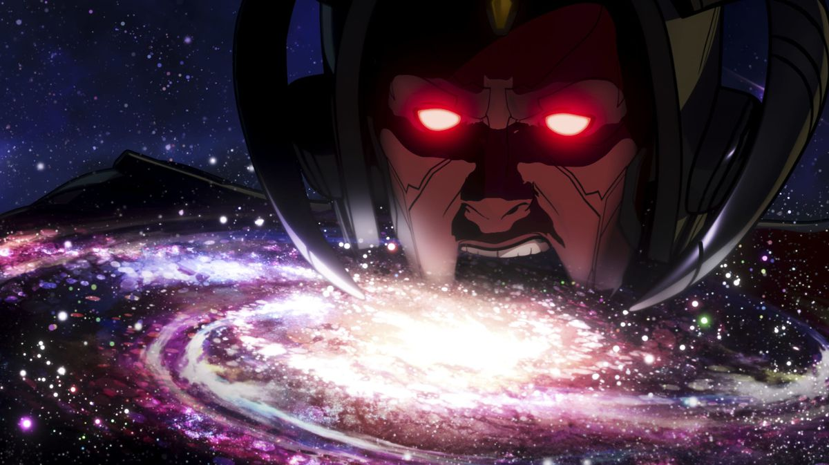 Infinity Ultron in What If…? season 1, about to chomp down on an entire galaxy while looking a whole lot like a reimagined Galactus