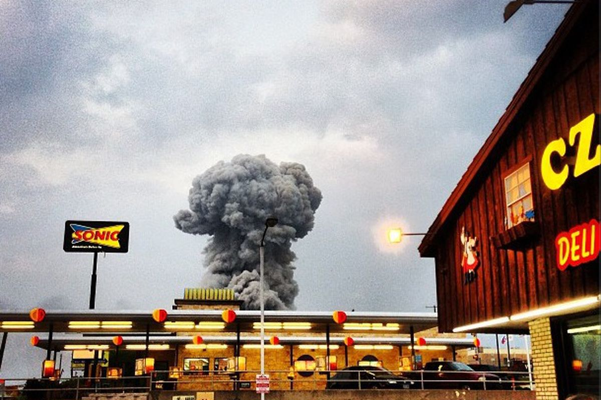 A photo of the explosion taken from West's beloved Czech Stop.