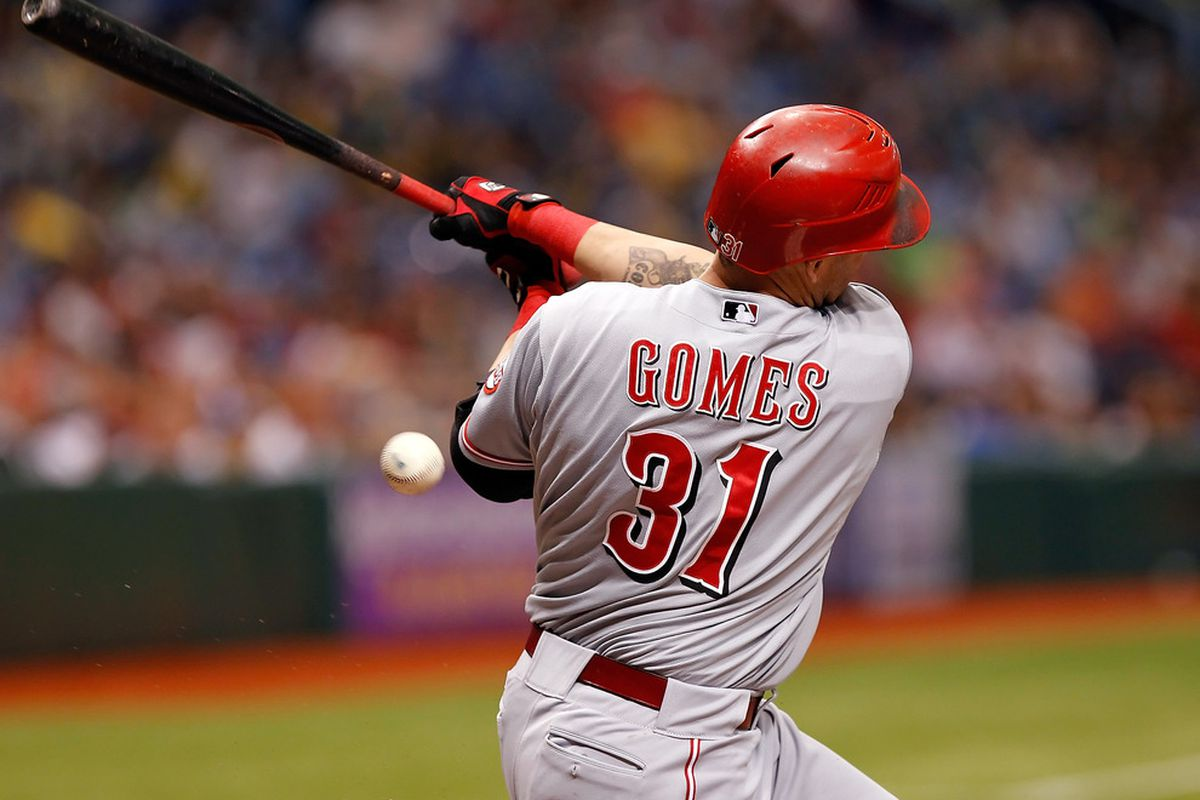 ST. PETERSBURG, FL - JUNE 29:  Designated hitter Jonny Gomes #31 of the Cincinnati Reds fouls off a pitch against the Tampa Bay Rays during the game at Tropicana Field on June 29, 2011 in St. Petersburg, Florida.  (Photo by J. Meric/Getty Images)