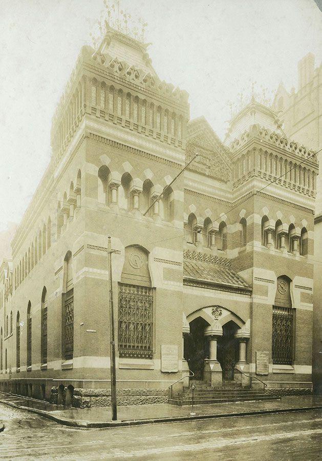 The exterior of the Guarantee Trust and Safe Deposit Company. This is an old photograph.