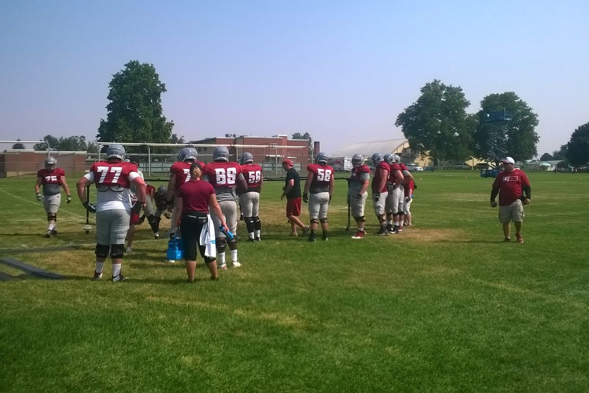 Offensive lineman workout on Day 9 of fall camp in Lewiston
