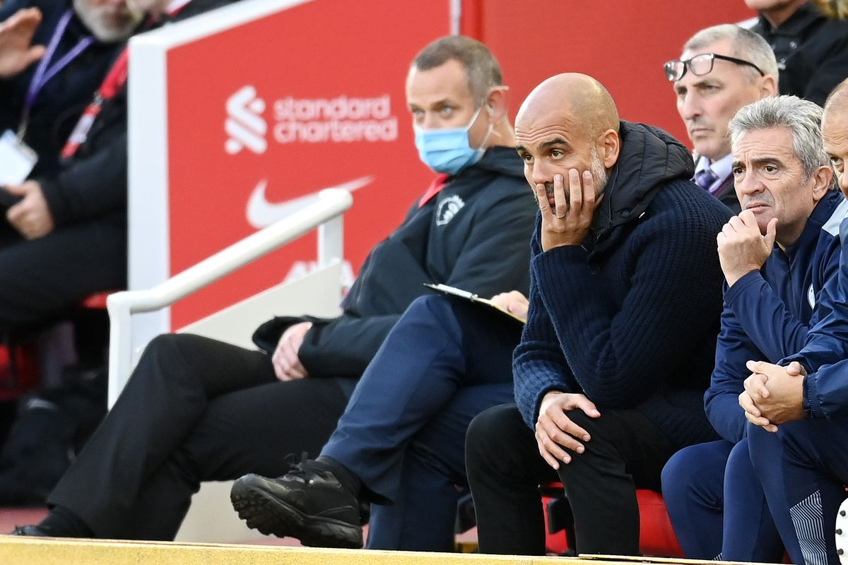 Pep Guardiola, Manager of Manchester City reacts during the Premier League match between Liverpool and Manchester City at Anfield on October 03, 2021 in Liverpool, England.