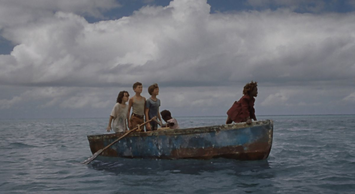 a group of children on a rowboat in Wendy
