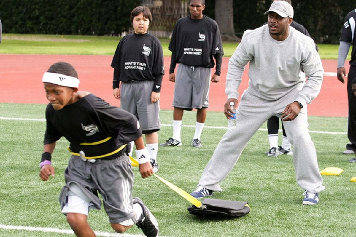 This photo is from March 2011, but it might show a drill like what may have happened at Reggie's youth football camp at Tulane today. (Photo by Noel Vasquez/Getty Images for adidas)