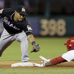 Philadelphia Phillies' Michael Martinez, right, slides into second base for a double as Miami Marlins second baseman Donovan Solano reaches for the tag in the fifth inning of a baseball game, Monday, Sept. 10, 2012, in Philadelphia. Philadelphia won 3-1.