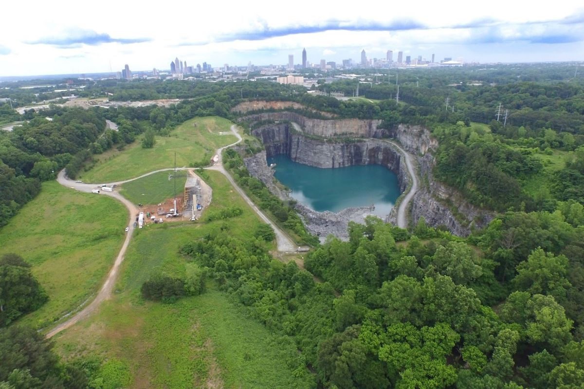 The Westside Reservoir site's proximity to Atlanta's core, from a drone's perspective.