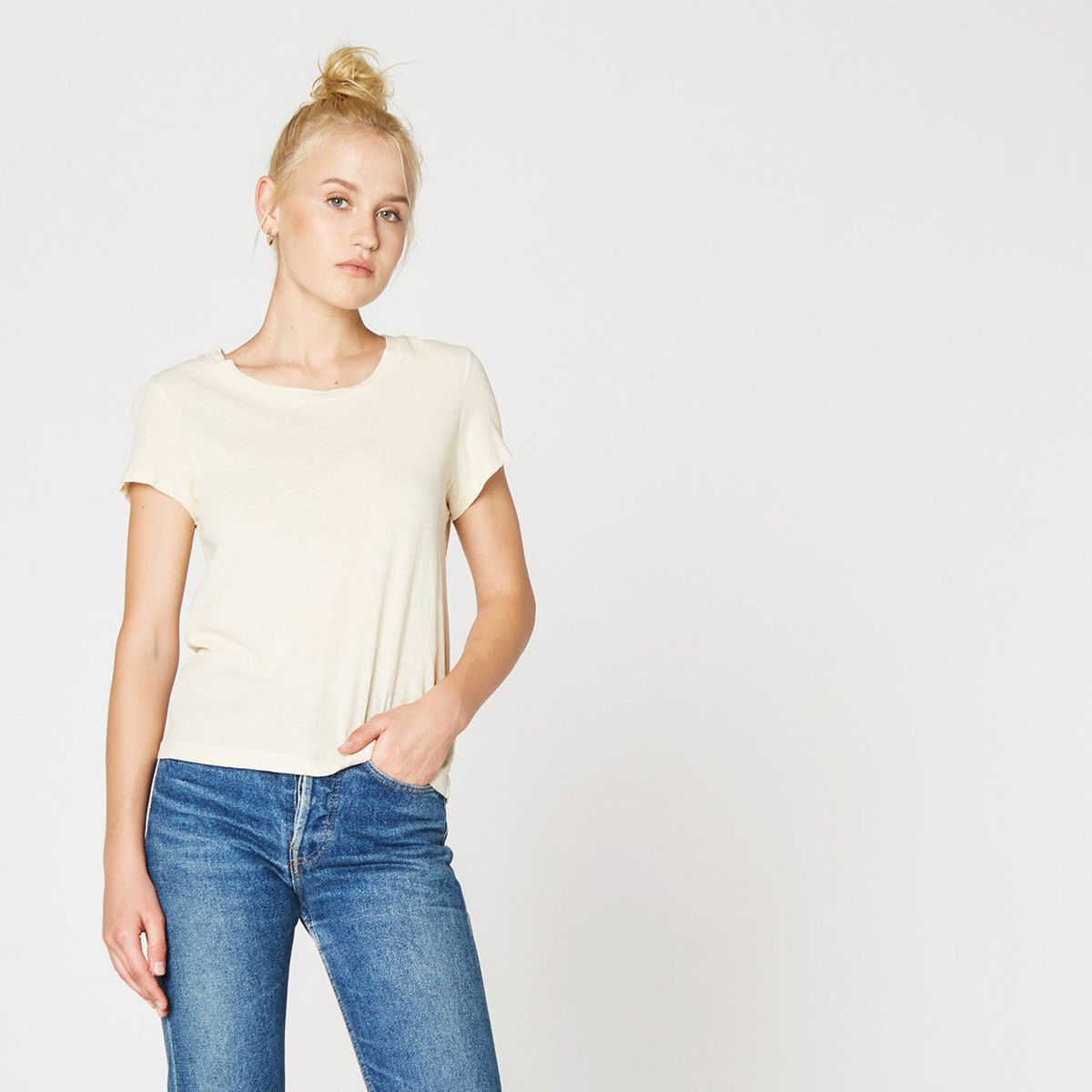 A crew neck T-shirt with jeans