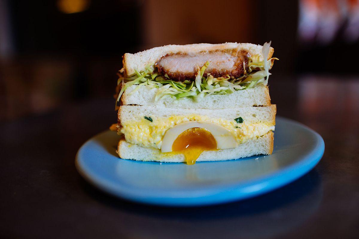 A chicken katsu sando and an egg salad sando from Tokyo Sando