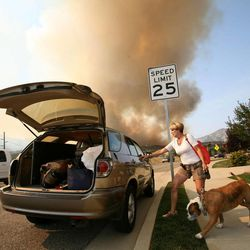 Pam Jepperson, with her dog Yoshi, is evacuated from her home near the Jordanelle Reservoir on Saturday, Aug. 18, 2012.