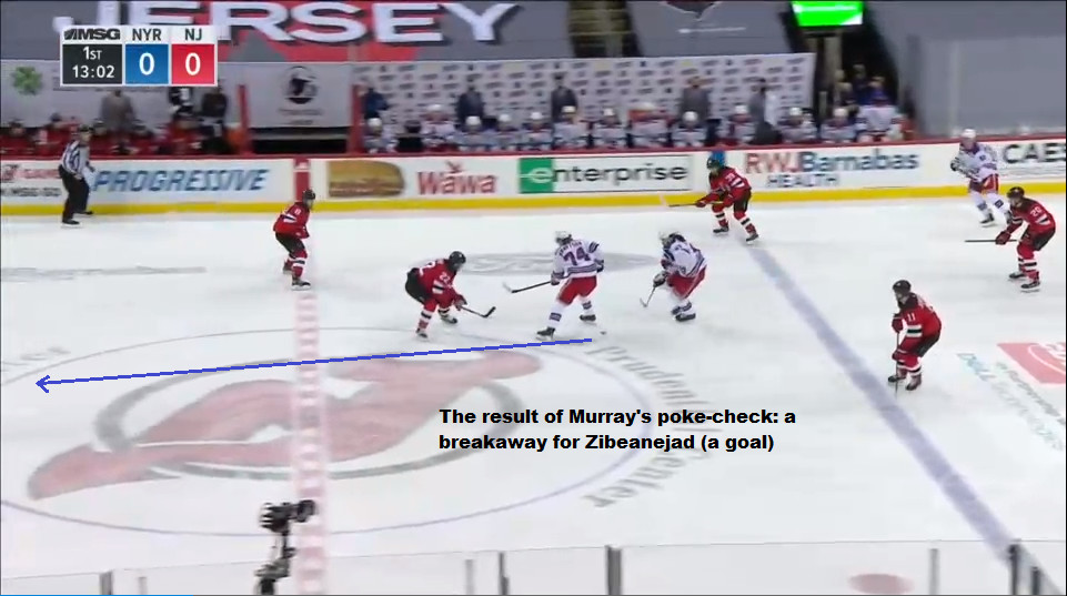 April 13: In the neutral zone, Ryan Murray tried to stick check the puck away from Kravtsov.  The puck ended up dropping for Zibanejad to take it and charge ahead. With Murray committed to the stickcheck and Butcher on the opposite side, no one was going to catch Zibanejad. He broke away and scored on Our Hated Rivals' second breakaway of the period.