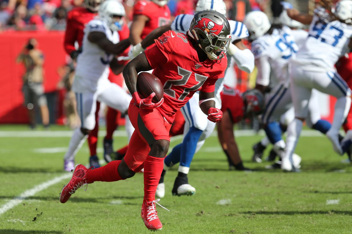 Ronald Jones II of the Bucs carries the ball during the regular season game between the Indianapolis Colts and the Tampa Bay Buccaneers on December 08, 2019 at Raymond James Stadium in Tampa, Florida.