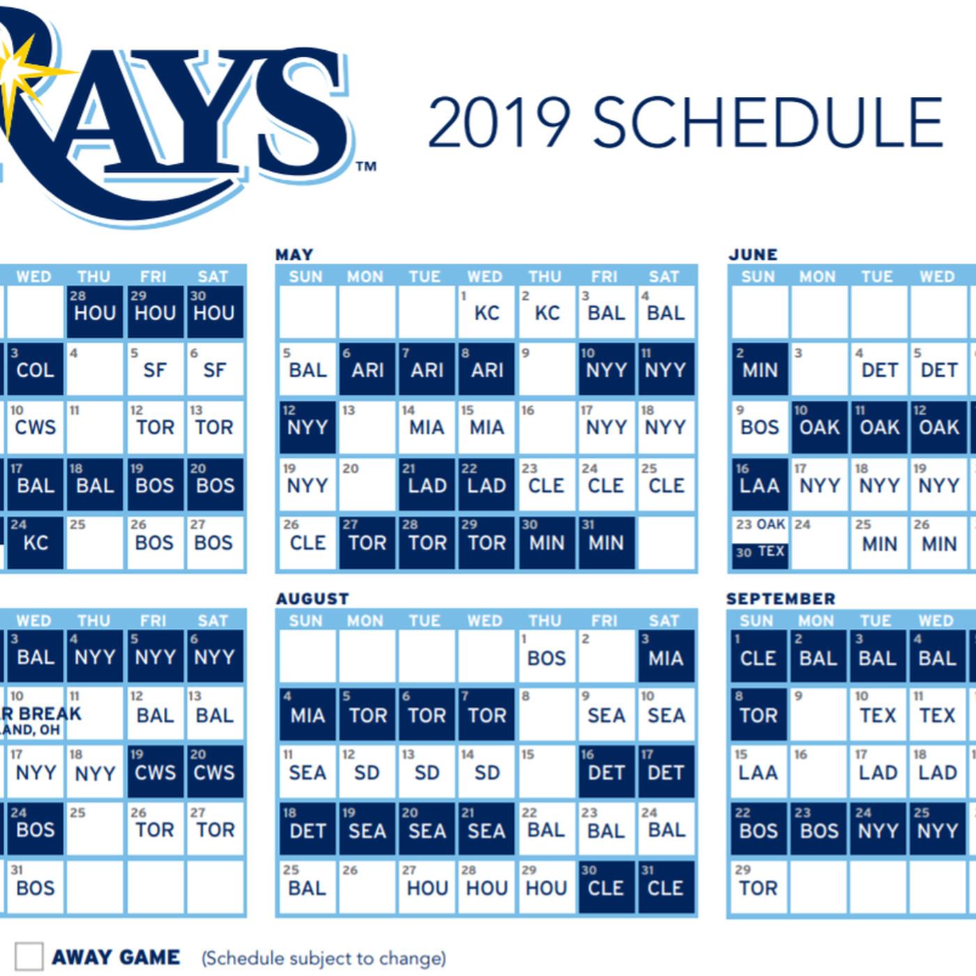 Calendario Tiger 2019.Tampa Bay Rays Release 2019 Schedule Draysbay