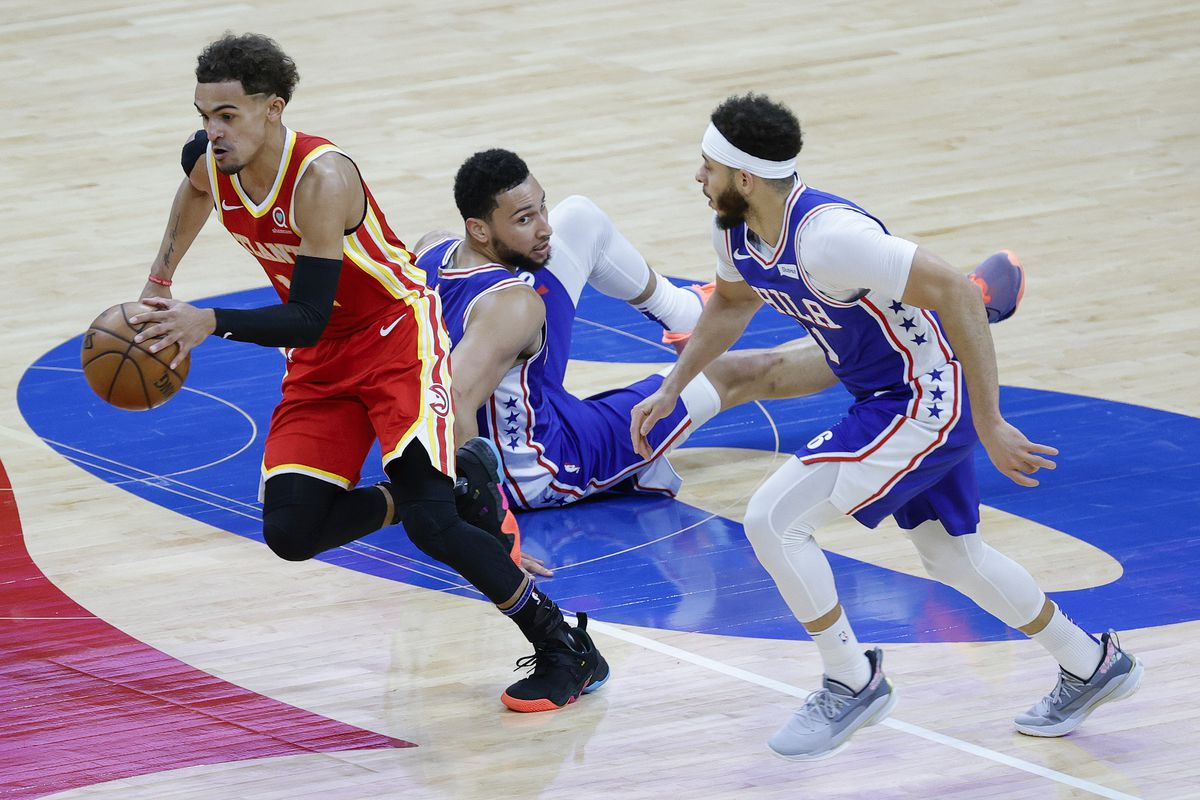 Trae Young #11 of the Atlanta Hawks gets a steal during the third quarter against the Philadelphia 76ers during Game Five of the Eastern Conference Semifinals at Wells Fargo Center on June 16, 2021 in Philadelphia, Pennsylvania.