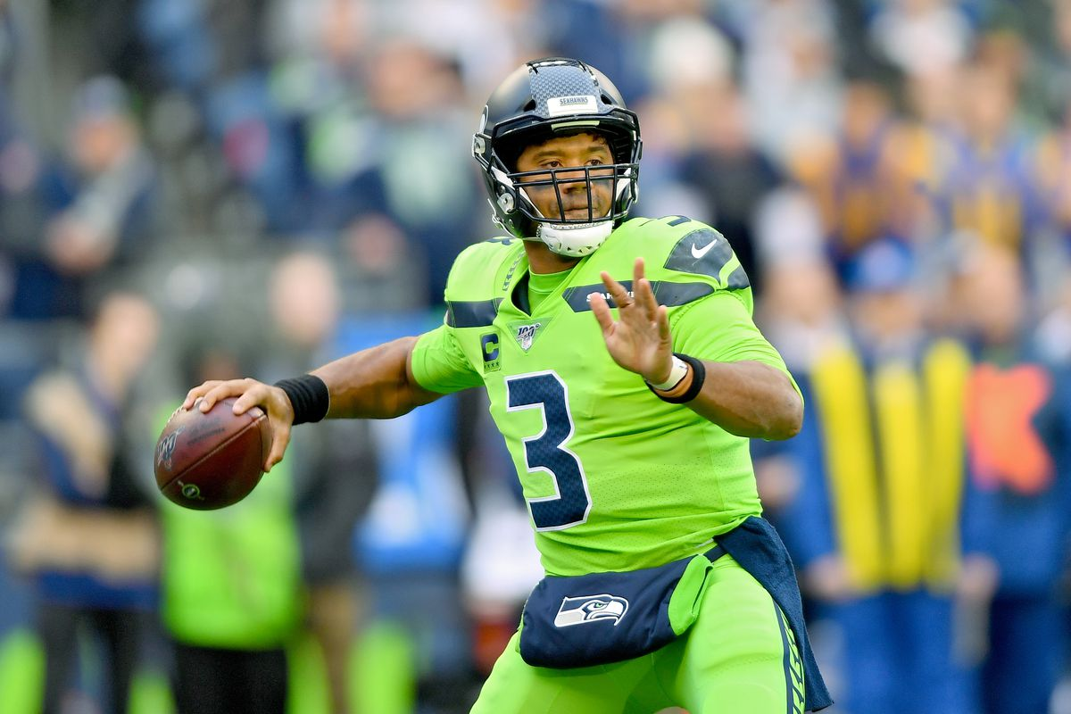 Russell Wilson of the Seattle Seahawks passes the ball during the game against the Los Angeles Rams at CenturyLink Field on October 03, 2019 in Seattle, Washington.
