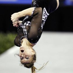 Alabama's Geralen Stack-Eaton competes on the balance beam during the NCAA college women's individual gymnastics championships, Sunday, April 22, 2012, in Duluth, Ga. Stack-Eaton won the event.