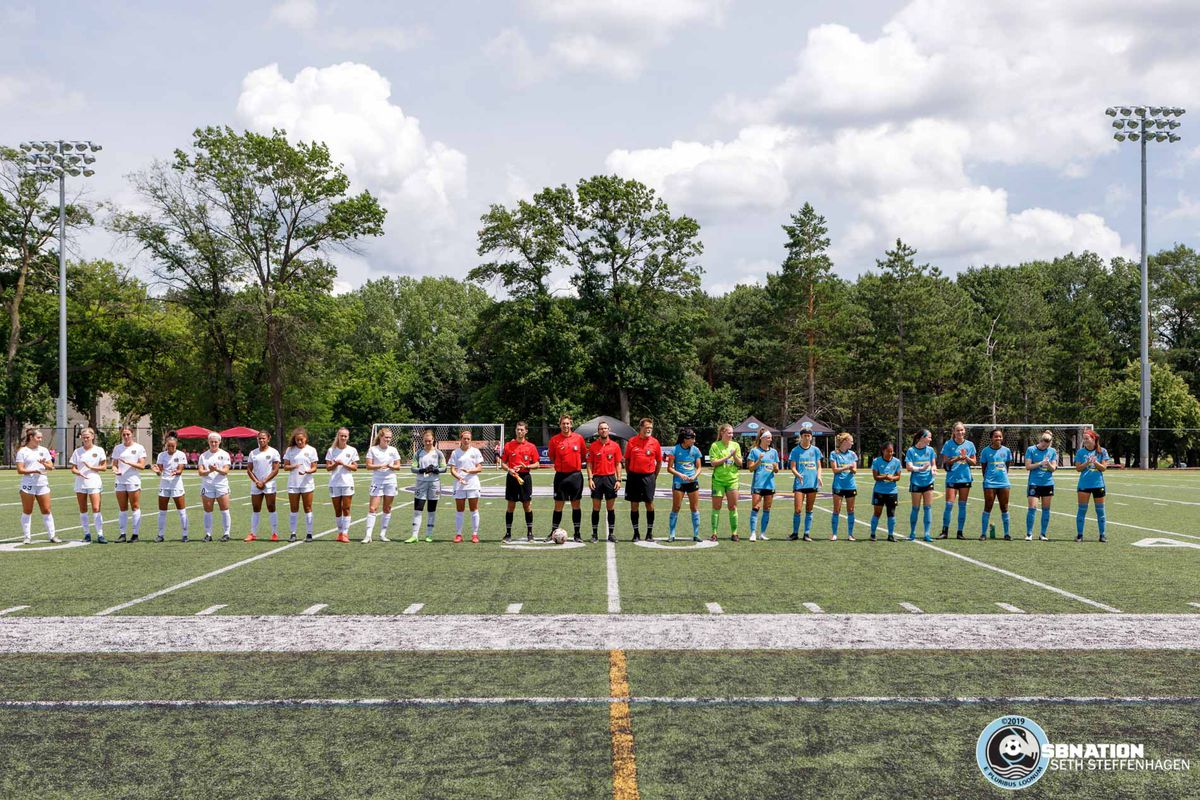 July 14, 2019 - Saint Paul, Minnesota, United States - The starting lineups are announced prior to the Central Region final between Fortuna Tulsa and Utah Royals FC Reserves at Reynolds Field.