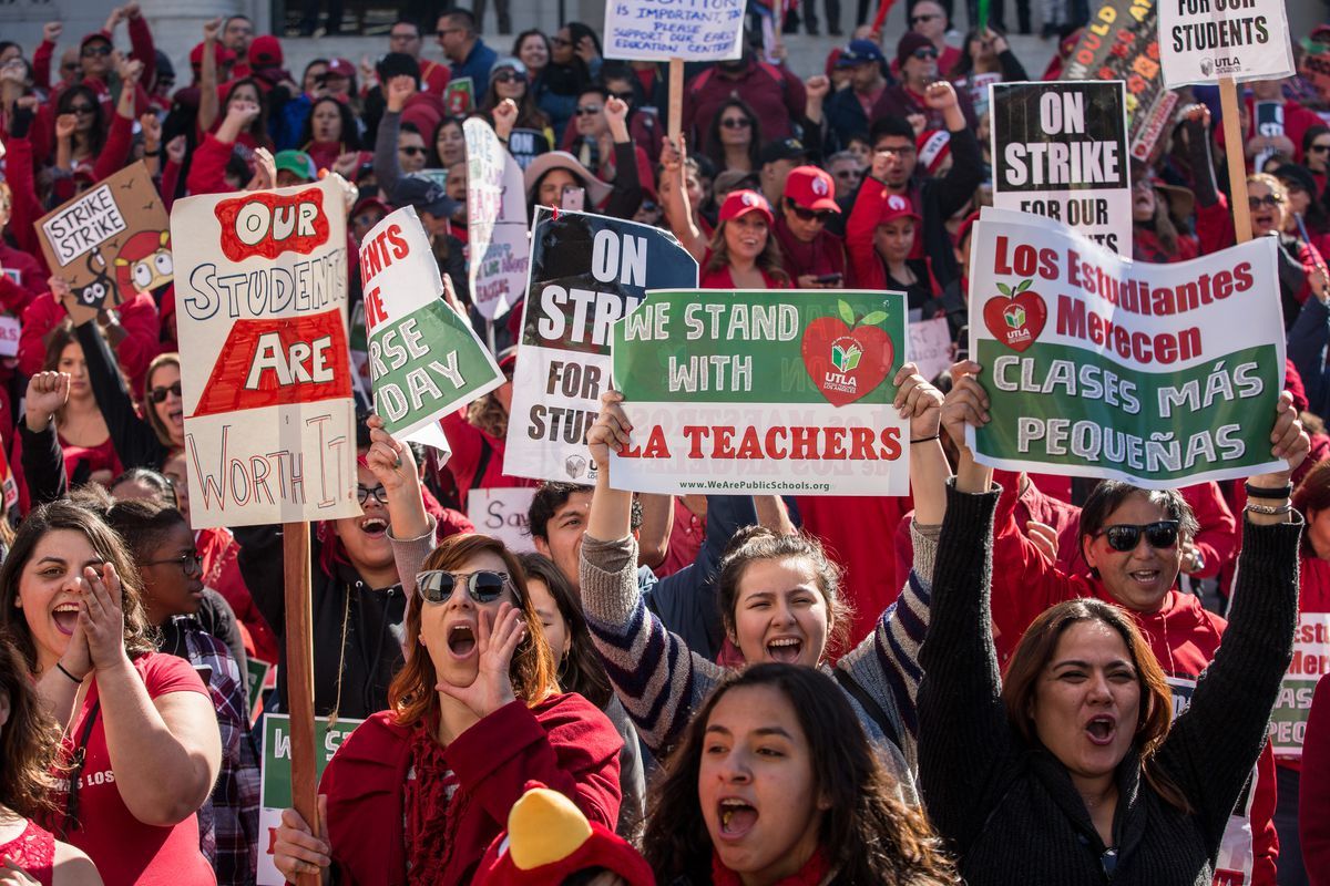 Thousands of striking Los Angeles teachers cheered at a January 2019 rally after it was announced that a tentative deal between the teachers union and school district had been reached.