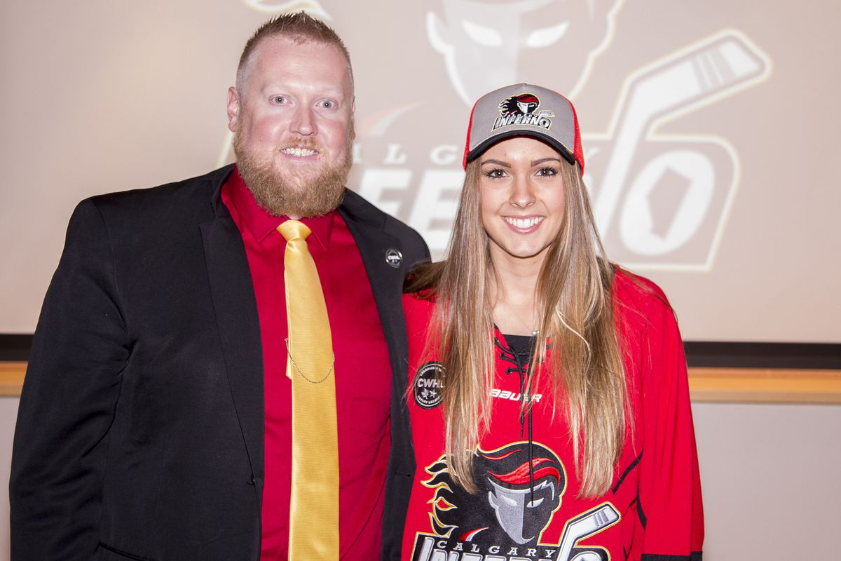 The Inferno selected Emerance Maschmeyer (pictured with interim GM Jeff Stevenson) in the first round, fourth overall, at the 2016 CWHL Entry Draft this past Sunday. Maschmeyer is one of Hockey Canada's most promising players, with a strong showing at the Women's Worlds in April.