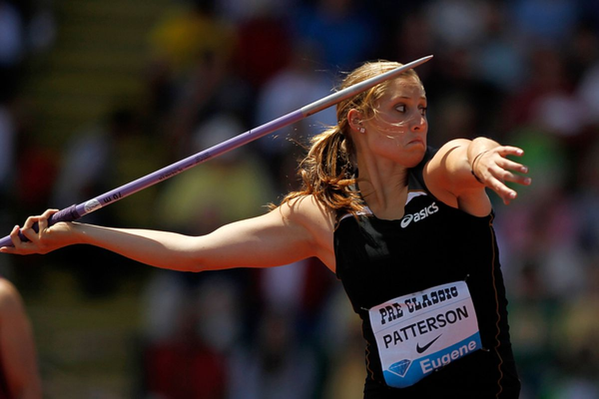 EUGENE OR - JULY 03:  Kara Patterson of USA throws the javelin during the IAAF Diamond League Prefontaine Classic on July 3 2010 at Hayward Field in Eugene Oregon.  (Photo by Jonathan Ferrey/Getty Images)