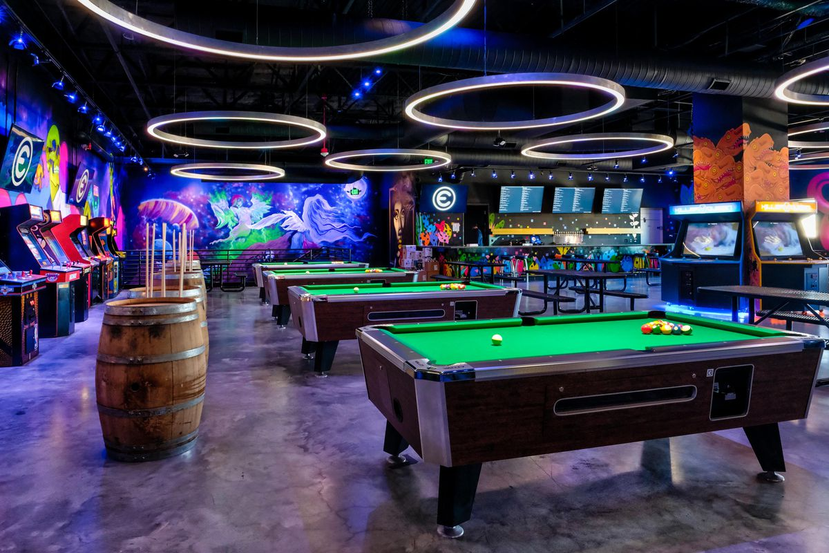 Rows of pool tables