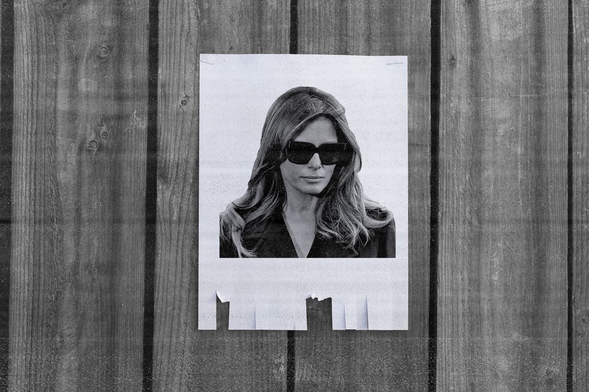 Melania Trump's face on a missing person flyer