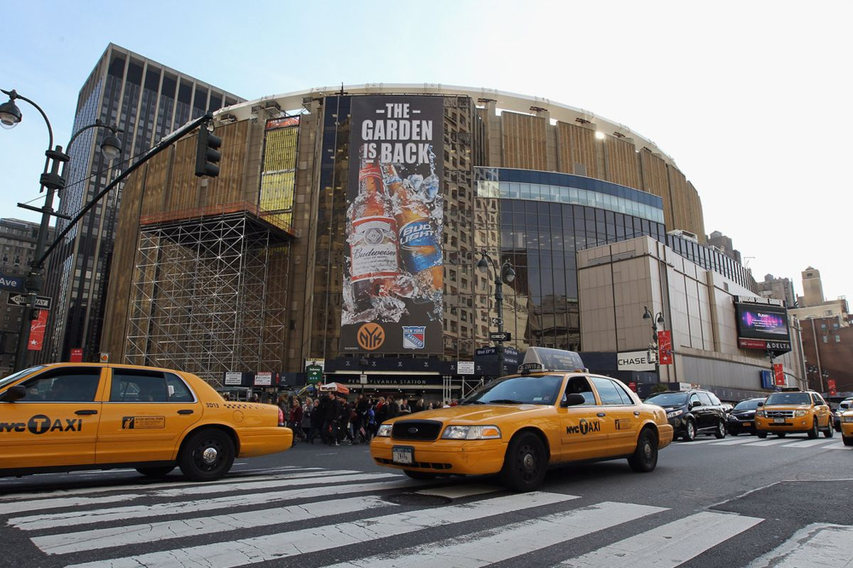 NEW YORK, NY - NOVEMBER 26:  An exterior view of Madison Square Garden prior to the game between the Philadelphia Flyers and the New York Rangers on November 26, 2011 in New York City.  (Photo by Bruce Bennett/Getty Images)
