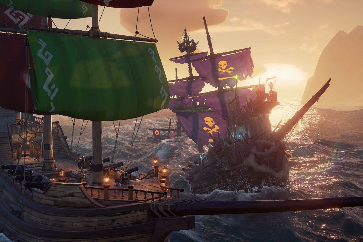 Sea of Thieves - a player ship fights off a skeleton ship