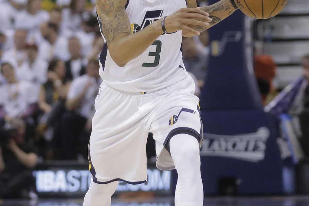 Utah Jazz guard George Hill (3) passes the ball during the second half in Game 6 of an NBA basketball first-round playoff series against the Los Angeles Clippers Friday, April 28, 2017, in Salt Lake City. Clippers won 98-93. (AP Photo/Rick Bowmer)