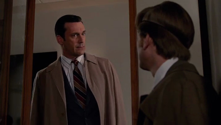 """Don (Jon Hamm) has a more dominant position within the frame over Ken (Aaron Staton) on the Mad Men episode """"Severance."""""""