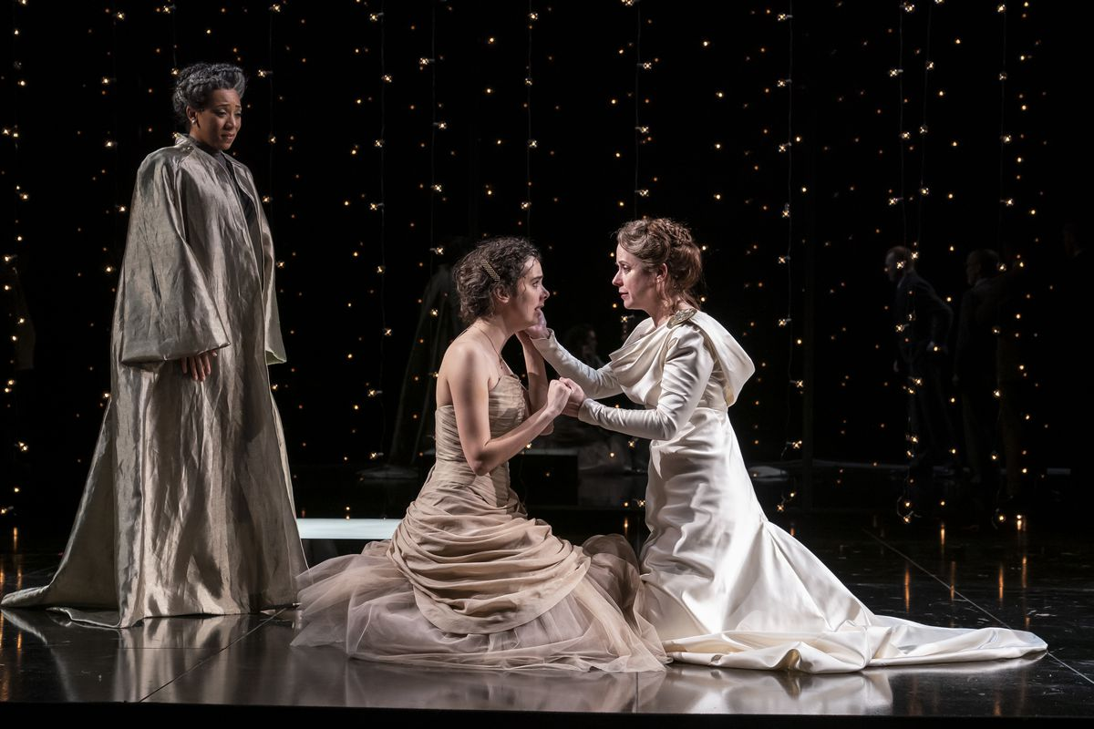 """Christiana Clark (as Paulina, from left), Chloe Baldwin (as Perdita) and Kate Fry (as Hermione) in """"The Winter's Tale"""" at the Goodman Theatre.   Liz Lauren"""