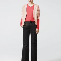 Leather cardigan, light pink, $538; combo crew neck sweater, coral, $258; Donovan pant, graphite, $278